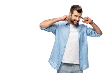 man plugging ears with fingers Isolated On White with copy space