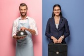glücklicher Mann in Schürze mit Serving Tray und Geschäftsfrau mit Aktentasche auf blau und rosa
