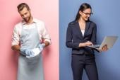 Mann in Schürze Waschplatte, während Geschäftsfrau mit Laptop auf blau und rosa