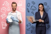 Photo man in apron washing plate while businesswoman using laptop on blue and pink with icons