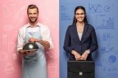 Fotografie lächelnder Mann in Schürze mit Serving Tray und Geschäftsfrau mit Aktentasche auf blau und rosa