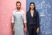 lächelnder Mann in Schürze und Geschäftsfrau hält Hände auf blau und rosa