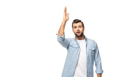 Man with raised hand looking at camera Isolated On White with copy space stock vector
