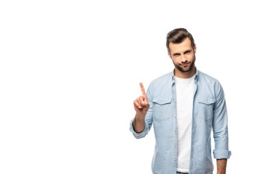 Handsome man pointing with finger Isolated On White with copy space stock vector