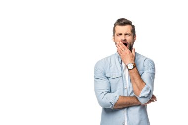 bored man yawning Isolated On White with copy space