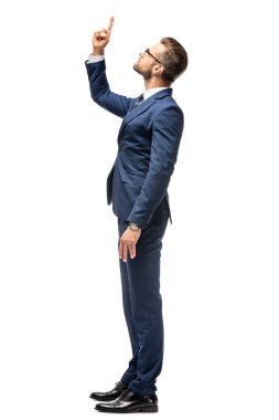 handsome businessman in suit pointing with finger up Isolated On White