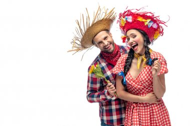 happy man and young woman in festive clothes isolated on white with copy space