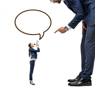 Small businesswoman shouting in mouthpiece at big businessman Isolated On White with Speech Bubble stock vector