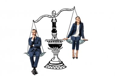 businessman and businesswoman sitting on balance scales isolated on white