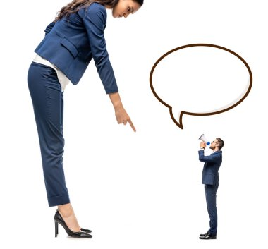 small businessman shouting in mouthpiece at big businesswoman pointing with finger Isolated On White with Speech Bubble
