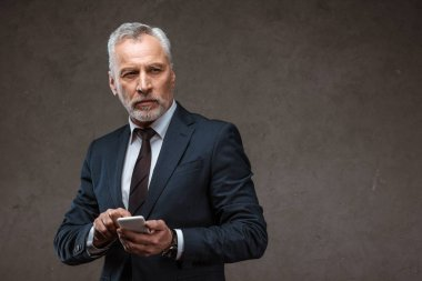 Successful bearded businessman holding smartphone on grey stock vector