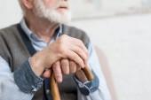 Vágott kilátás az idős ember sétapálca kezében