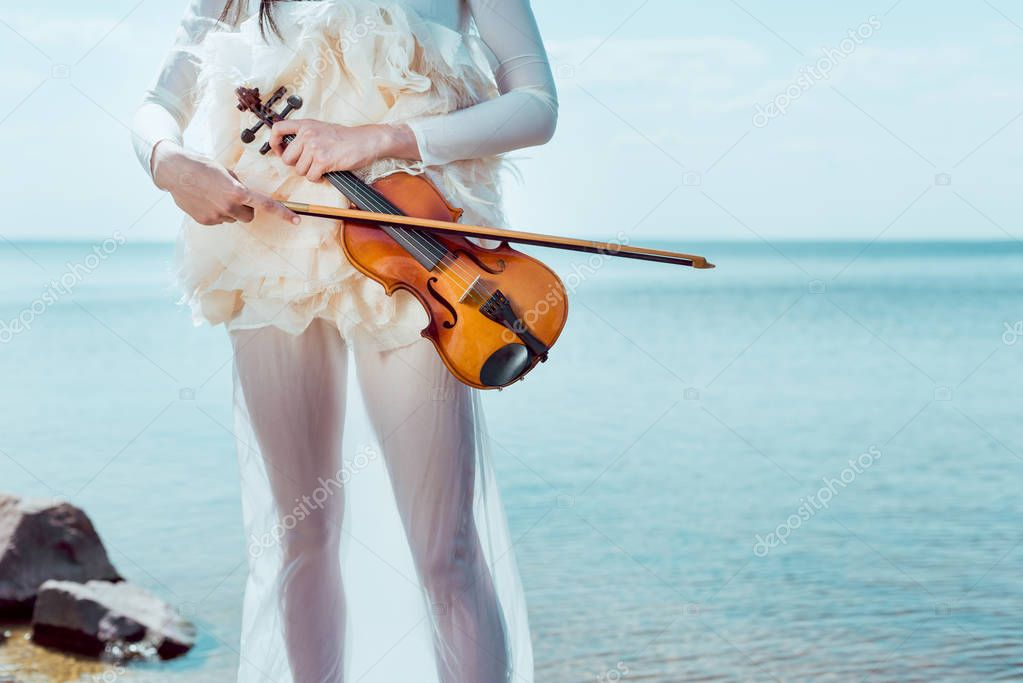cropped view of tender woman in white swan costume with violin standing on blue sky and river background