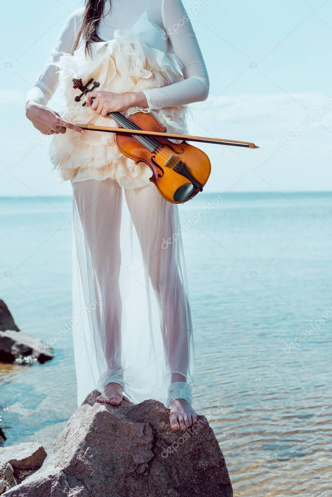 cropped view of adult woman in white swan costume standing on blue river background with violin