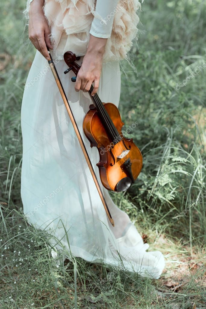 cropped view of woman in white swan costume holding violin