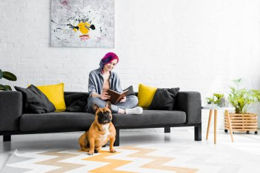 Beautiful girl sitting on sofa in living room and small bulldog sitting on floor stock vector