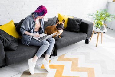 French bulldog sitting near girl with colorful hair sitting on sofa and using laptop stock vector
