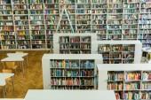 police se sbírkou knih u dřevěných stolů a židlí v knihovně