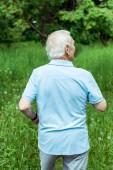uomo in pensione con i capelli grigi in piedi nel parco verde