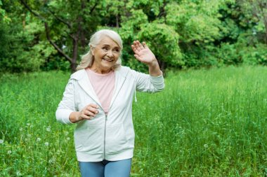 cheerful senior woman with grey hair waving hand in park