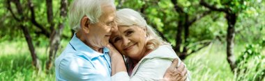 panoramic shot of cheerful senior man hugging happy wife with grey hair