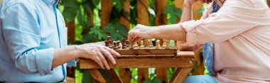 panoramic shot of retired couple playing chess on wooden table