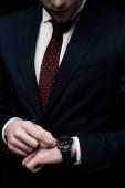 nyírt kilátás üzletember ellenőrzése időt nézni izolált fekete