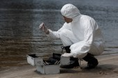 víz ellenőr latex kesztyű és Védőruházat nyitó ellenőrzési Kit a homokos tengerparton
