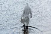 Hátulnézet a víz ellenőr védőruha gazdaság ellenőrzési készlet a folyami