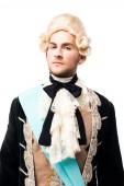 dagalmas viktoriánus úriember paróka nézi kamera izolált fehér