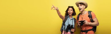 Panoramic shot of two excited tourists looking away on yellow background stock vector