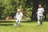 Photo father and adorable son playing football in park during daytime