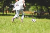 pohled na kluka, který hraje fotbal v parku během dne