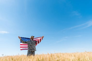 Soldier in cap and uniform holding american flag in field with wheat stock vector