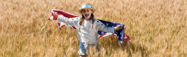 Panoramic shot of cute and happy kid holding american flag in field stock vector
