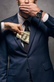 Fotografie cropped view of man putting money in pocket of business partner covering face on grey