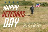 Fotografie handsome soldier in uniform walking and holding american flag in summertime with happy veterans day, honoring all who served illustration