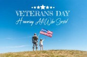 back view of kid in straw hat and military father holding american flags with veterans day, honoring all who served illustration