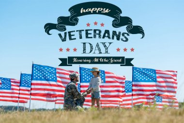 selective focus of military father holding hands with cute kid near american flags with happy veterans day, honoring all who served illustration