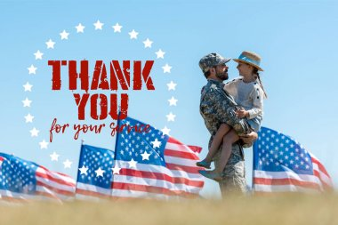 selective focus of man in military uniform holding in arms cheerful kid near american flags with thank you for your service illustration