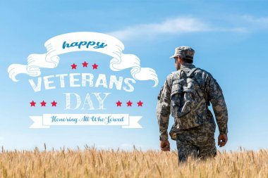 soldier in military uniform with backpack standing in field with golden wheat with happy veterans day, honoring all who served illustration