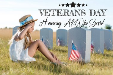 kid in straw hat giving salute while sitting near headstones with american flags with veterans day, honoring all who served illustration