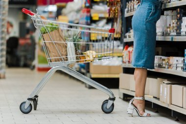cropped view of woman standing near shopping cart with groceries in store
