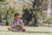 imádnivaló, mosolygó iskolás ül a gyepen a parkban és az olvasás könyv