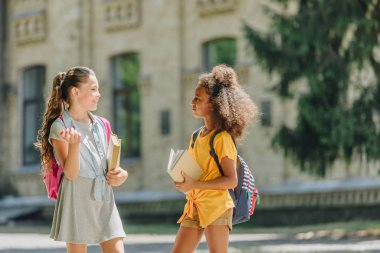 two cheerful multicultural schoolgirls holding books and talking in schoolyard