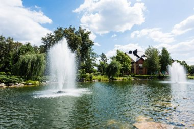 fountains in pond near trees and house in summertime