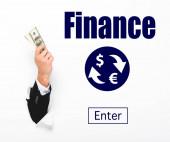 Vágott nézet az ember tartja a pénzt a lyukon keresztül fehér papír fal fehér az online pénzváltás illusztráció
