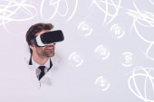 smiling man in Virtual reality headset in hole in wall with glowing cyberspace illustration