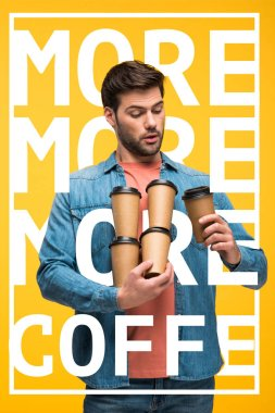 handsome man holding paper cups with coffee to go isolated on yellow with more coffee illustration