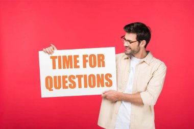 handsome man holding white placard with time for questions illustration isolated on red